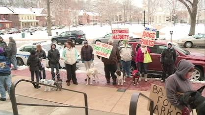 "The ""responsible dog owners' rally"" in front of Dubuque's City Hall"