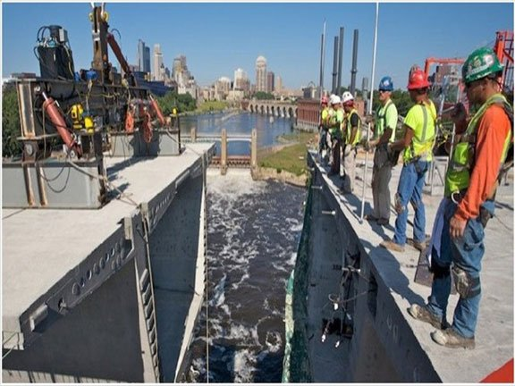 Bridge construction on 35W in Minneapolis. One in nine bridges around the country is structurally deficient, according to a new report.