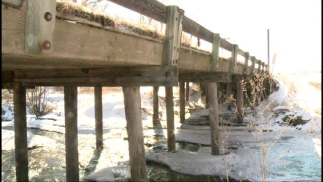 The Bridge over Hunter Creek near Hazleton has been repaired once, but parts are still decaying.
