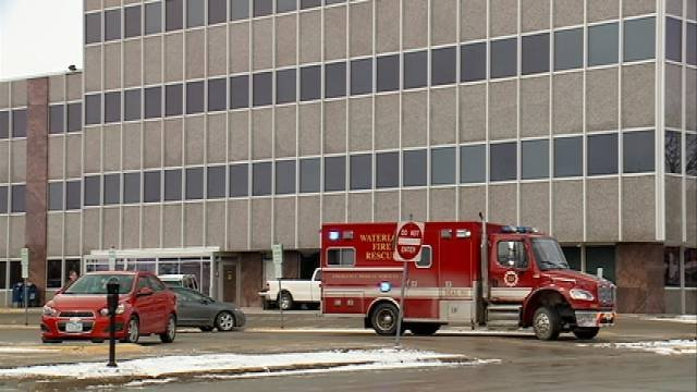 Emergency personnel in front of the Black Hawk County Courthouse
