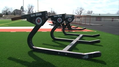 Equipment on a football practice field