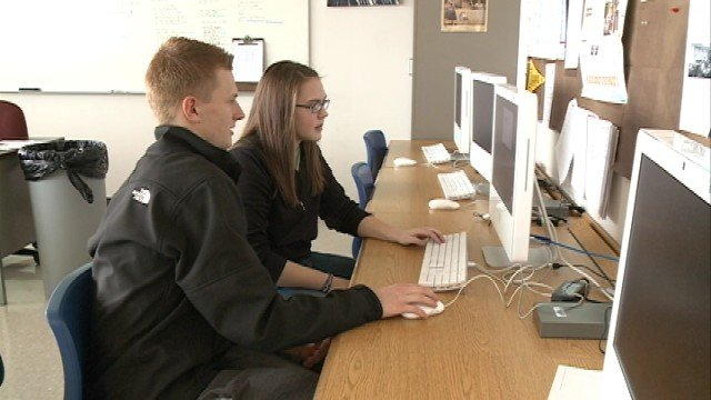Cedar Falls High School seniors Josh Thompson and Julie Doyle focused on small business growth.