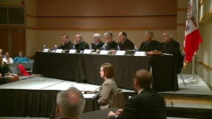 Iowa Supreme Court justices hear oral arguments Wednesday night at Loras College in Dubuque