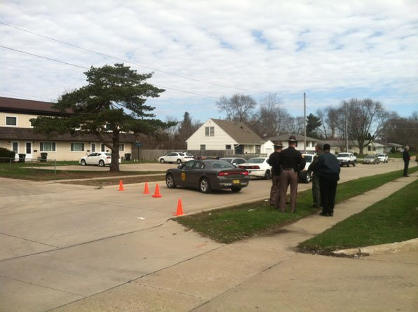 Officials secure the scene near the 2300 block of Royal Drive