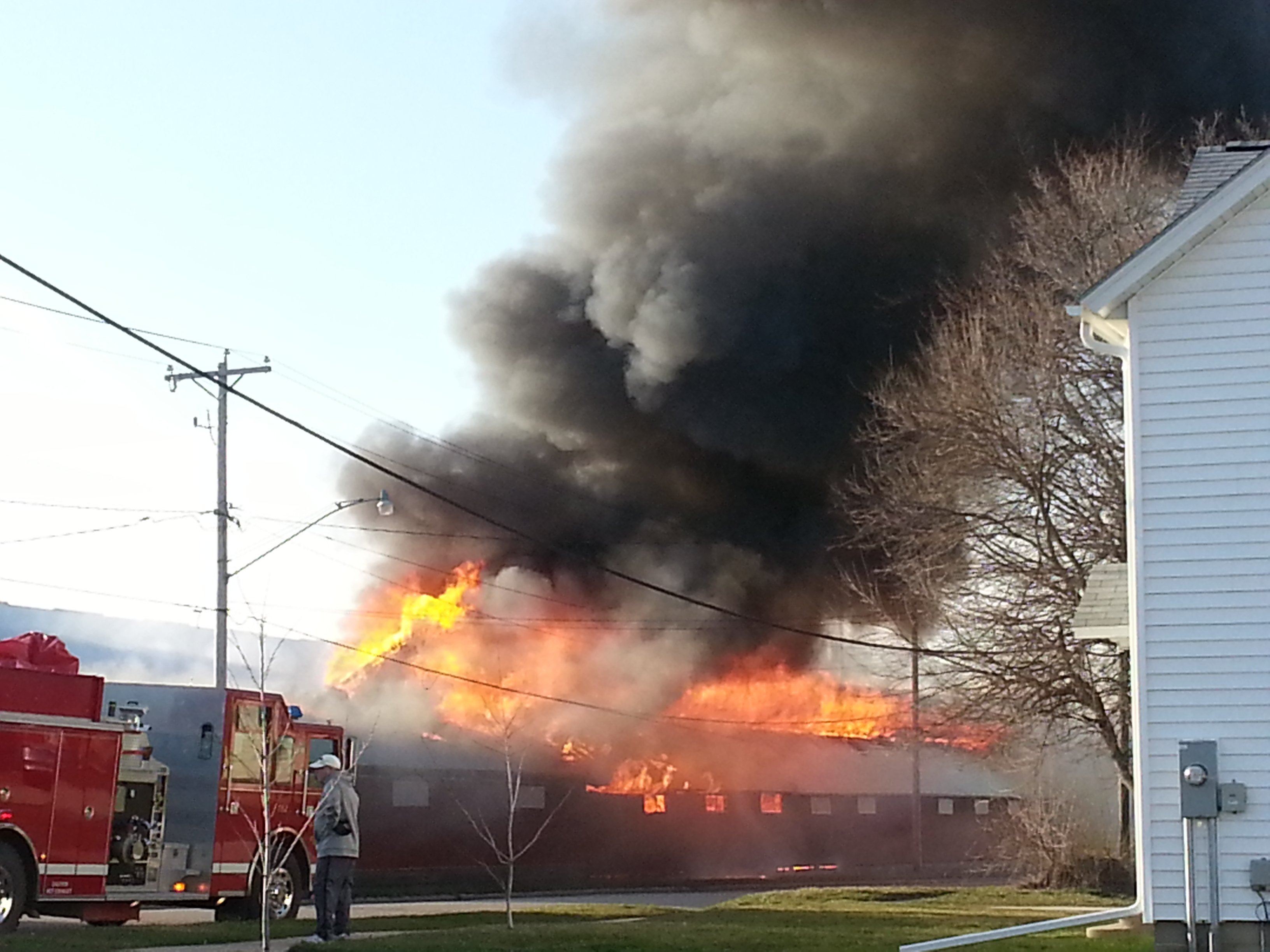 Firefighters battle a building fire in West Union.  Picture courtesy Pamela Freeseman