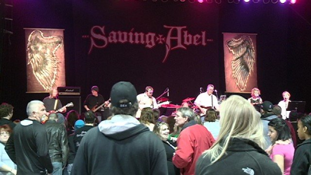 A band plays at the Concert for the Angels in Waterloo