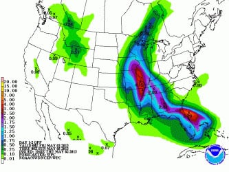 This map shows how much rain is expected through Saturday evening.