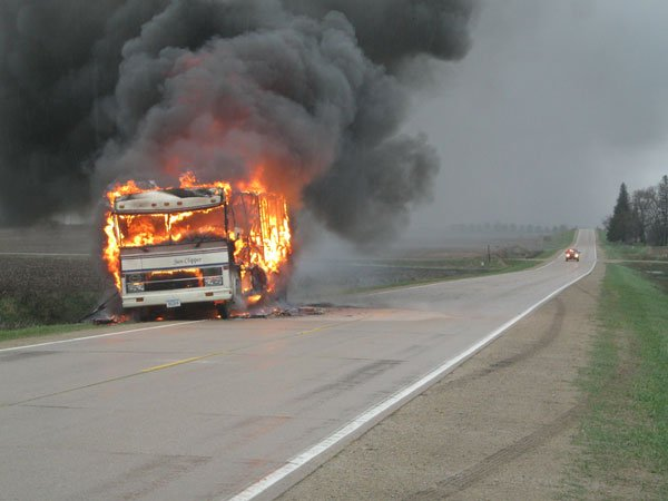 A fire that began in a motor home while it was traveling on the road led to the total loss of the vehicle Tuesday afternoon.