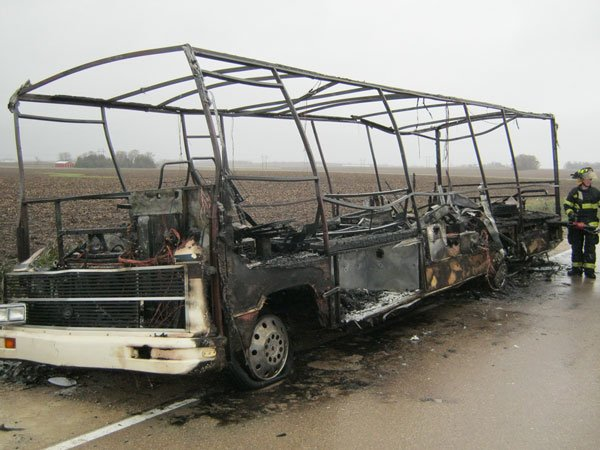 The motor home -- a white 1990 Sun Clipper -- was considered a total loss.