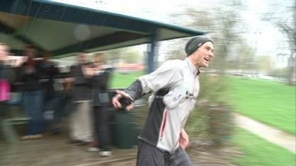 Josh Miller, running to raise money for Hillcrest Family Services in Dubuque