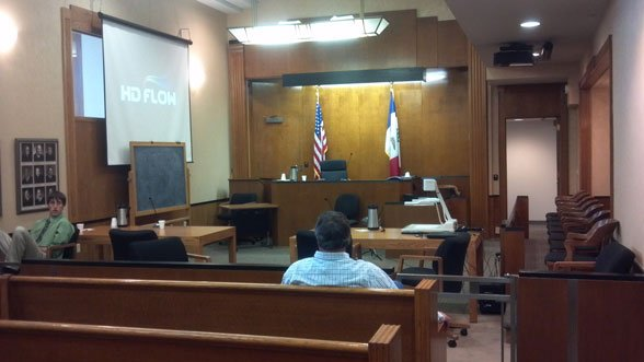 Pothast, far left, and others wait for a verdict to come in during jury deliberations Tuesday afternoon.