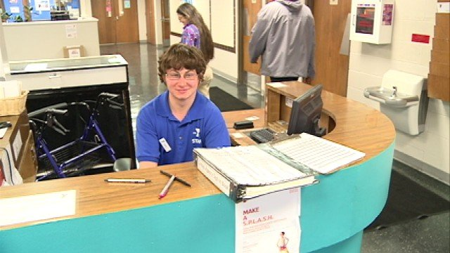 Austin Deitrick gives a warm welcome to everyone visiting the Black Hawk County YMCA. He started at the front desk this past winter.
