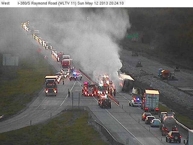 A semi fire shut down traffic in both directions of Interstate 380 in Black Hawk County Sunday evening. Courtesy Iowa DOT