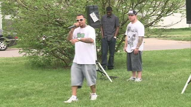 Young Blessed performing at Gates Park homicide vigil on Saturday.