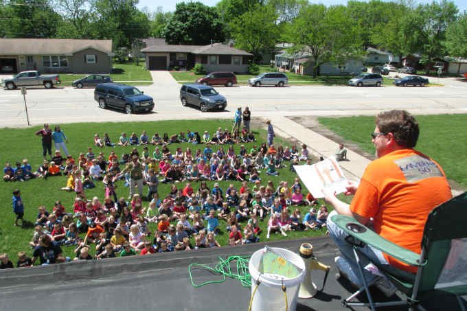 The principal of Lambert Elementary School in Manchester is going camping -- on a roof.