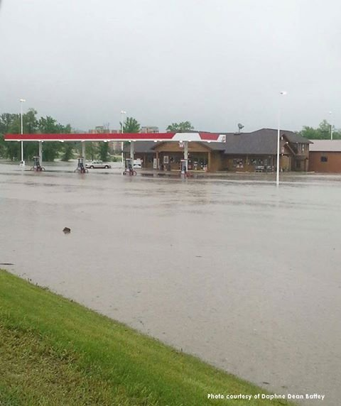 Flood waters near the Meskwaki Trading Post in Tama County