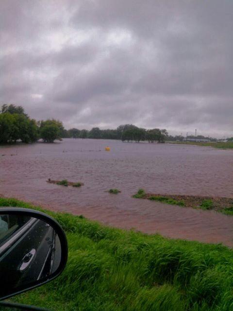 Water in a flooded field near Grundy Center