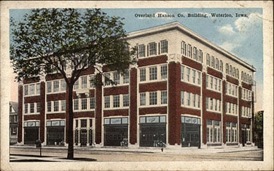 Postcard featuring the Overland Hanson Co. Building, year unknown