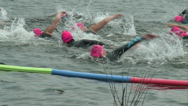 More than 170 athletes jumped in George Wyth Lake, pedaled on their bikes, and took to the streets to participate in the inaugural Accel Triathlon in Waterloo Sunday.