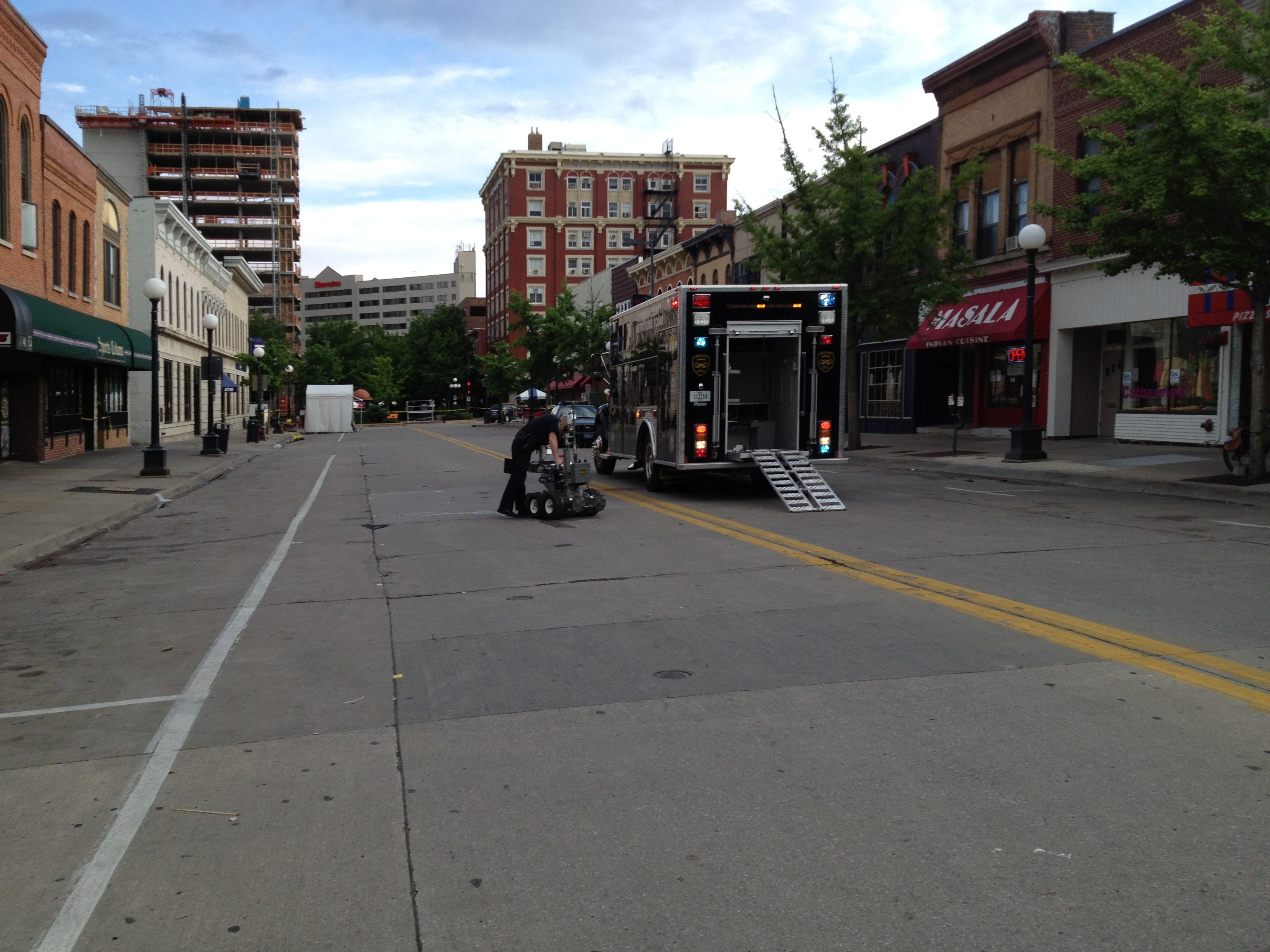 A suspicious package found in downtown Iowa City Sunday was not a bomb or a incendiary device, according to Iowa City Police.