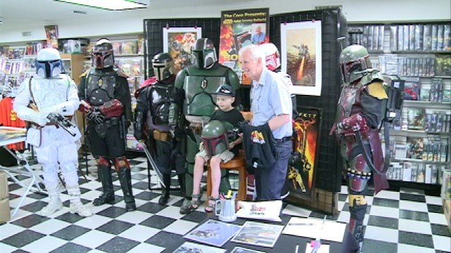 Jacob, a huge Star Wars fan, got to meet his heroes on Saturday including the actor who played Boba Fett, Jeremy Bulloch, and a group of Mandalorian Mercs.