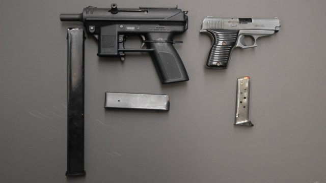 Waterloo police seize guns from home on Locust Street Wednesday.