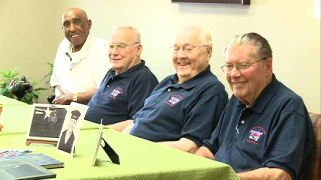 Charles Dale, Frank Lape, Elston Peters and Dwayne Driscoll went on the most recent Honor Flight out of Waterloo.