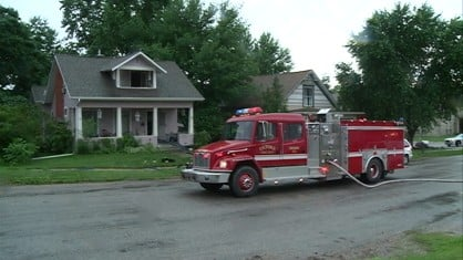 Emergency management officials in Johnson County say a house fire was the worst of the storm damage Monday afternoon.