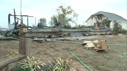 The couples home after the fire Friday morning.