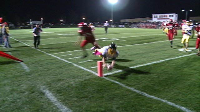 Ryan Miller dives into the end zone to give Wapsie Valley a 14-6 lead over Turkey Valley in the 2nd Quarter of Friday's game.