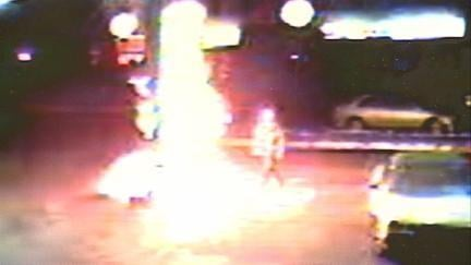 A surveillance camera captured the Dec. 18, 2013 gas pump fire in Dubuque