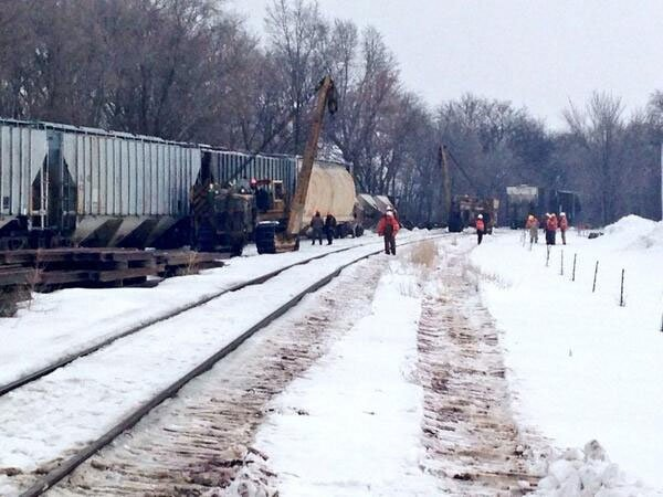 Crews work at a train derailment in Shell Rock Friday