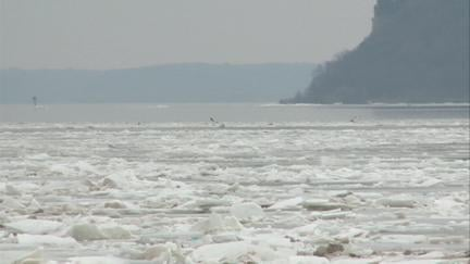 Ice above Lock and Dam 11 in Dubuque is preventing barges from traveling upriver