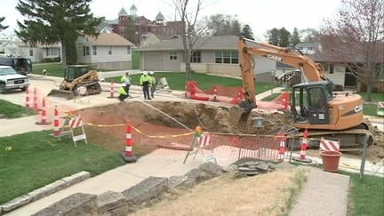 A sinkhole swallowed part of Ramona Street in Dubuque this month
