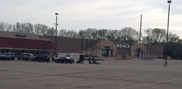 Police remain at the Collins Road Kohl's in Cedar Rapids Thursday evening.