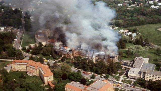 Clark College fire May 17, 1984. Photo Courtesy: The Telegraph Herald