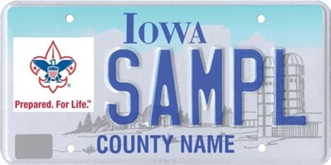 The new Boy Scouts of America license plate in Iowa.