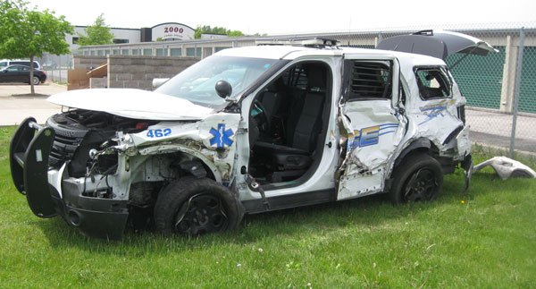 Officer Jeffery Barkhoff's squad car after it was hit Thursday along I-80.