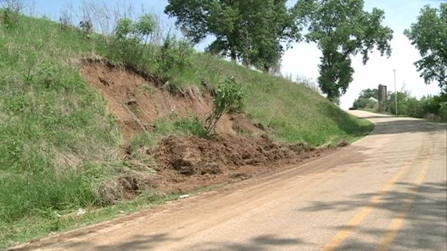 A small mudslide blocked one lane of Herber Road in Dubuque County Thursday morning