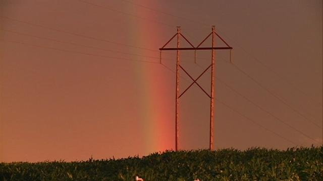 A rainbow stretches over Dubuque County following Monday night's storms