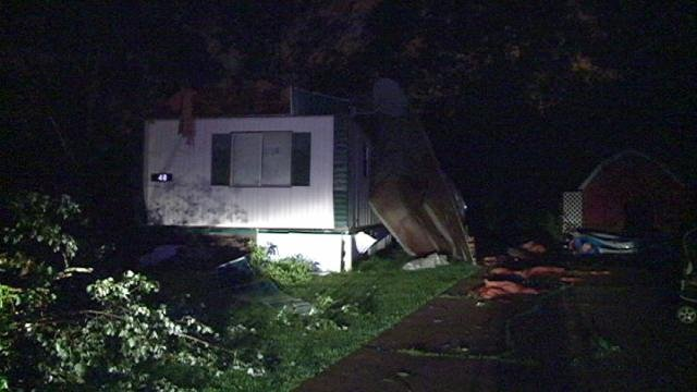Strong winds ripped the roof off this mobile home in Dubuque County's Spring Valley Mobile Home Park