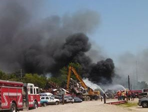 CC Recycling fire on Thursday. (Courtesy Cedar Rapids Fire Department)