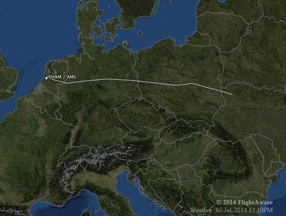 The flight path of the plane. (Courtesy flightaware.com)