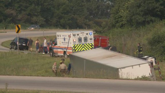 A semi went into the ditch near the I-80 ramp on Thursday morning. (Michelle Corless, KWWL)