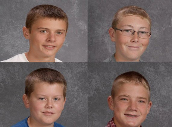 Clockwise from top left: Sean Keneally, Mitchell Kluesner, Bryce Wilwert and NIcholas Kramer, all 14. (Courtesy Western Dubuque County Community School District)