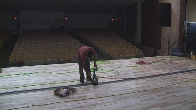 Storms damaged the stage at Jefferson High School meaning the floors have to be replaced.