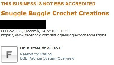The Better Business Bureau has given Snuggle Buggle Crochet Creations an 'F' rating