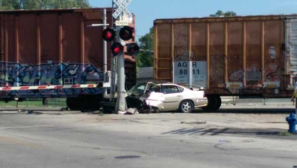 The scene of a car/train crash at East Fourth and Dane streets in Waterloo on Thursday.