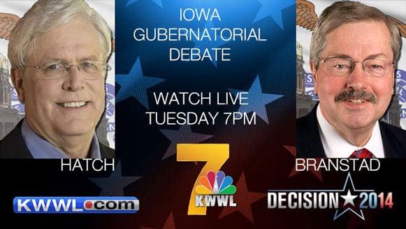 Jack Hatch debates Terry Branstad in the gubernatorial debate Tuesday night on KWWL.