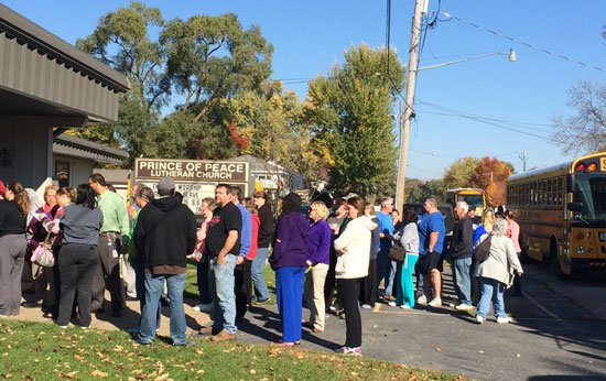 Students and staff evacuated safely to Prince of Peace after a fire at Bunger on Wednesday. (Olivia Mancino, KWWL)